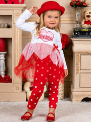 Girls Long Sleeve XOXO Heart Tutu Tunic & Polka Dot Leggings Set - Girls Fall Casual Set