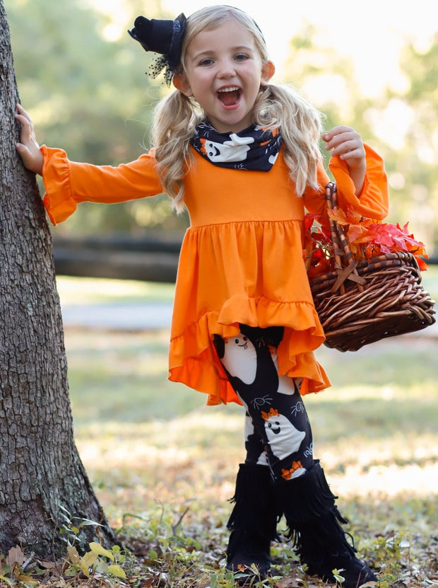 Girls Halloween Themed Long Sleeve Ruffled Tunic, Ghost Print Leggings & Scarf Set
