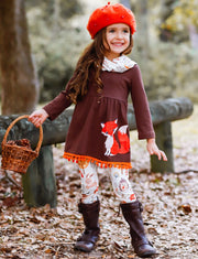 Girls Long Sleeve Fox Applique Tunic with Pom Pom Hem, Printed Leggings & Scarf Set