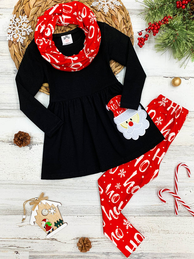 Girls Long Sleeve Santa Applique Tunic, Christmas Print Leggings & Scarf Set