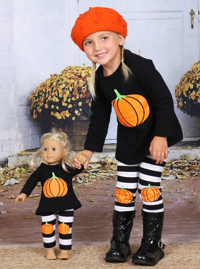 Girls Halloween Themed Long Sleeve Pumpkin Top & Striped Leggings Set with Matching Doll Set