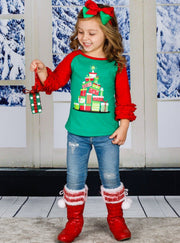 Girls Christmas Themed Long Ruffled Sleeve Raglan Top