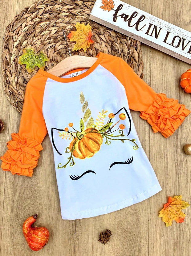 Girls Orange & White Long Ruffled Sleeve Unicorn Pumpkin Floral Color Block Top