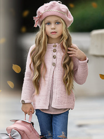 Girls Knit Button Up Sweater Cardigan