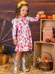 Girls Long Sleeve Ruffled Shoulders Floral Dress