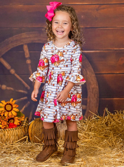 Girls Pumpkin Leaves Print Ruffled Sleeve Dress