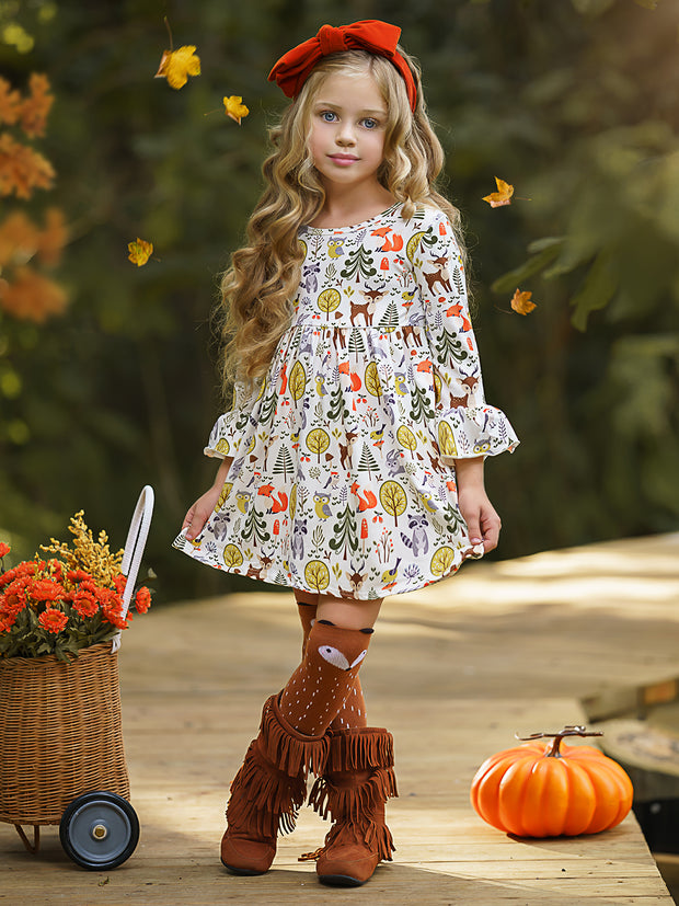 Girls Animal & Trees Print Long Ruffled Sleeve Dress