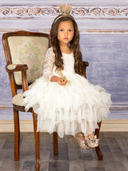 Girls Lace Long Sleeve Tiered Tutu Holiday Maxi Dress