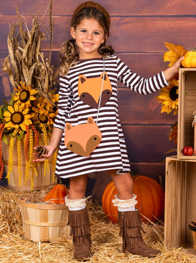 Girls Fox Pocket Dress with Purse
