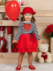 Girls Striped Glitter Heart Tutu Dress - Girls Fall Casual Dress