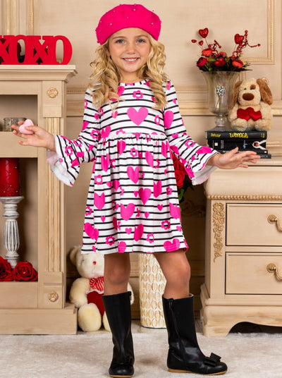 Girls Striped Heart Floral Print Ruffled Dress