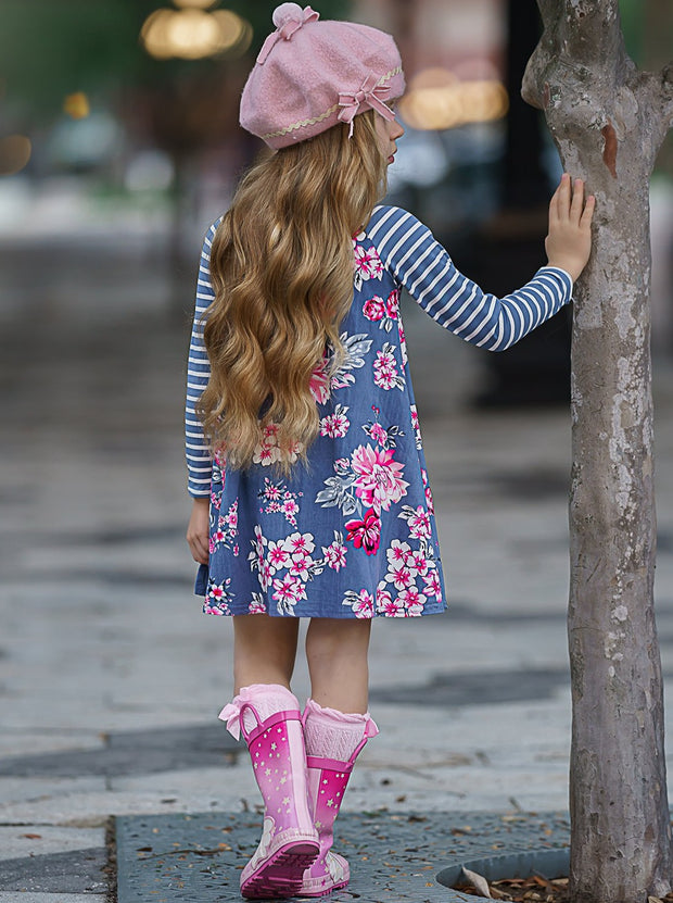 Girls Striped Long Sleeve Floral Dress