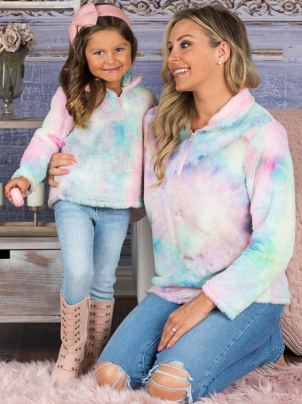 Mommy & Me Fleece Tie-Dye Quarter Zip Pullover Sweater
