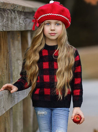 Girls Plaid Fuzzy Sweater