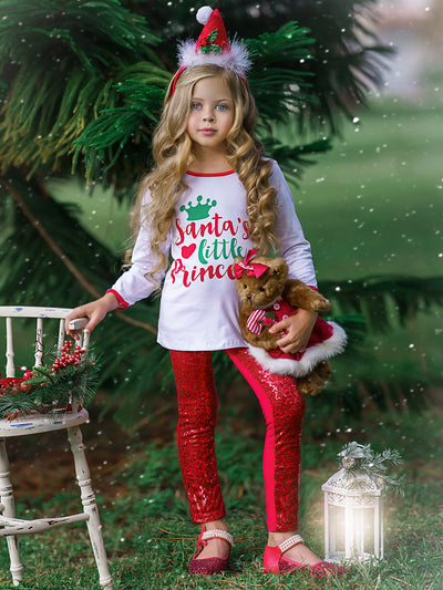 "Girls ""Santa's Little Princess"" Top and Sequin Leggings Set"