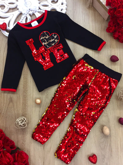 Girls Sequin Love Leopard Heart Top and Leggings Set - Red / 2T - Girls Fall Casual Set