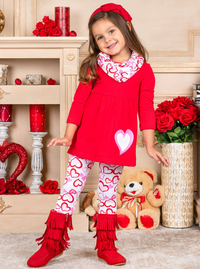 Girls Heart Tunic Leggings and Scarf Set - Red / 2T - Girls Fall Casual Set