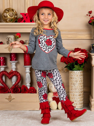 Girls Leopard Rose Heart Applique Top & Ruffled Leggings Set - Girls Fall Casual Set