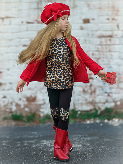 Girls Leopard Top, Heart Applique Leggings and Ruffled Jacket Set