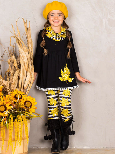 Girls Striped Leaves Print Circle Trim Hem Long Sleeve Tunic, Leggings & Scarf Set
