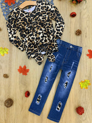 Girls Long Sleeve Button Down Animal Print Knot Top & Ripped Jeans Set