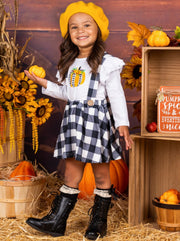 Girls Plaid Buttoned Overall Dress & Ruffled Long Sleeve Pumpkin Print Top Set