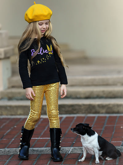 "Girls ""Believe"" Bunny Long Sleeve Tunic & Sequin Leggings Set"