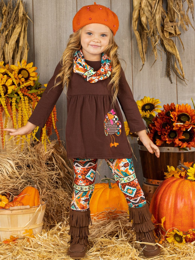 Girls Thanksgiving Themed Long Sleeve Turkey Applique Tunic, Leggings & Scarf Set