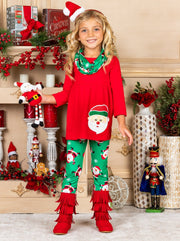 Girls Long Sleeve Santa Applique Tunic Christmas Print Leggings & Scarf Set - Green / 2T - Girls Christmas Set