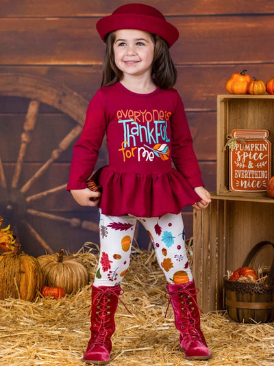 "Girls ""Everyone is Thankful for Me"" Long Sleeve Peplum Tunic & Leaves Print Leggings"
