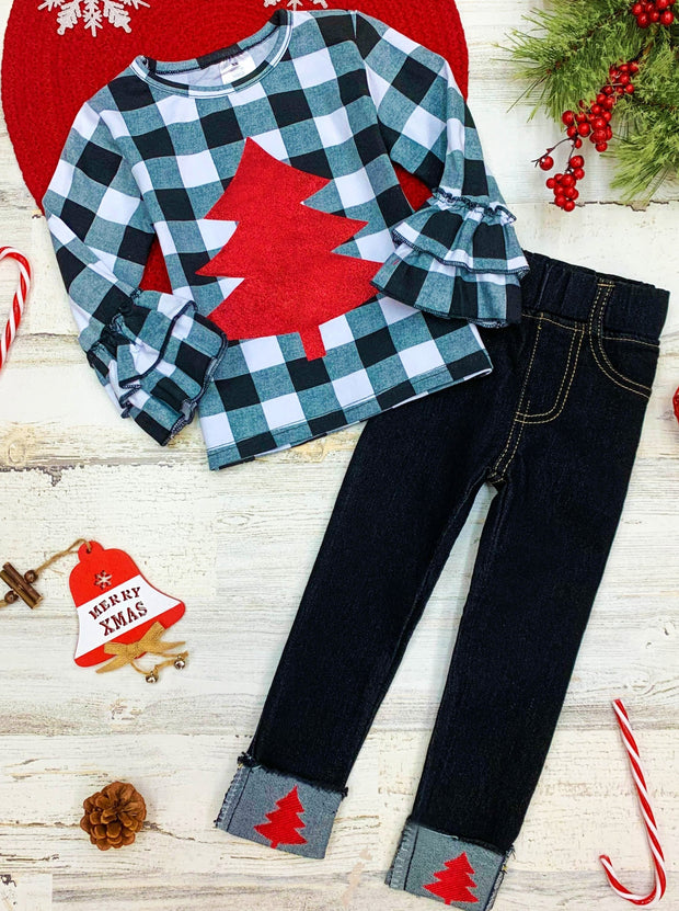 Girls Plaid red Christmas Tree applique Ruffled Top and Cuffed Jeans  red Christmas tree Set