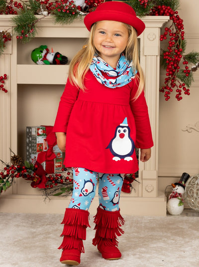 Girls Penguin Candy Cane Top, Leggings and Scarf Set