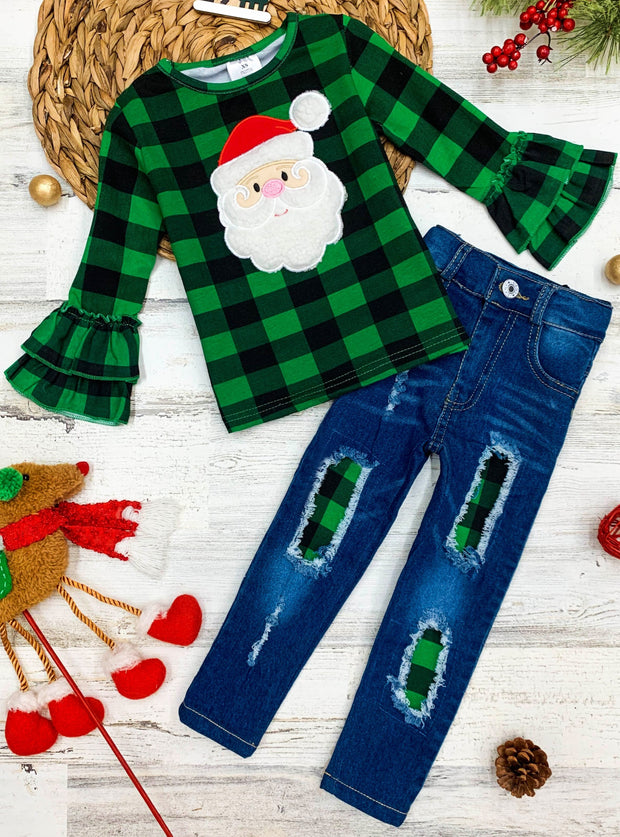 Girls Black and green Plaid Santa applique Ruffled Top & Ripped Jeans Set