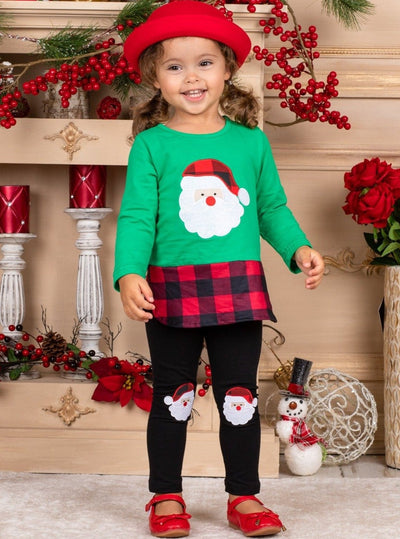 Girls Plaid Santa Patched Tunic and Leggings Set - Green / 2T - Girls Christmas Set