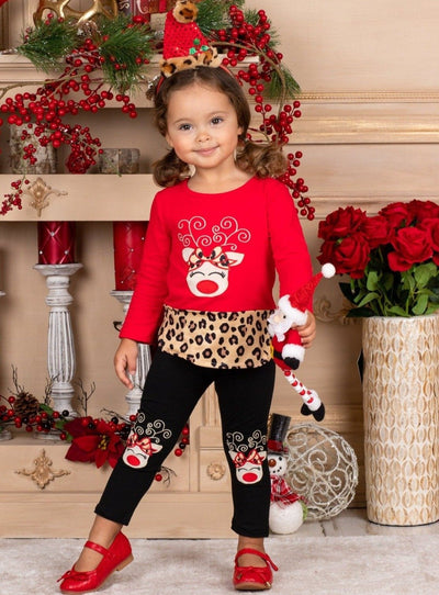 Girls Leopard Rudolph Patched Tunic and Leggings Set - Red / 2T - Girls Christmas Set