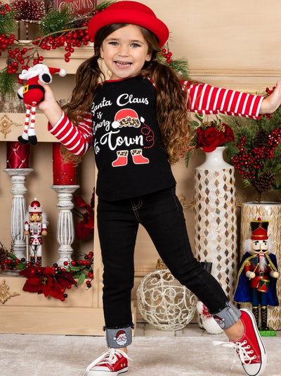 Girls Santa Clause is Coming to Town Striped Top and Cuffed Jeans Set - Black / 2T - Girls Christmas Set