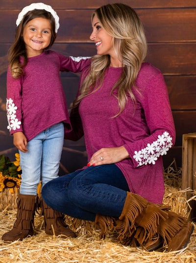 Mommy & Me Fuchsia Long Sleeve Hi-Lo Flower Trim Tunic