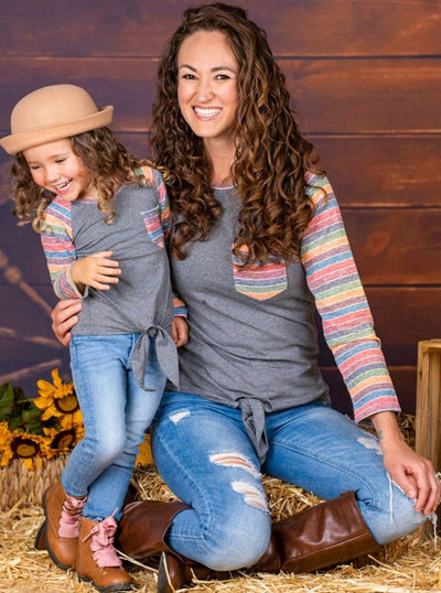 Mommy & Me Long Raglan Sleeve Knot Pocket Top-grey