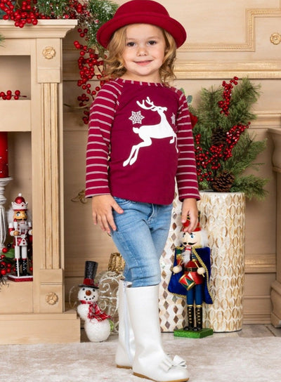 Girls Striped Sleeve Reindeer Top