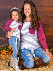 Mommy & Me Long Raglan Sleeve Knot Pocket Top-white