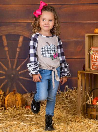 Girls Plaid Floral Pumpkin Print Long Ruffled Raglan Sleeve Knot Top