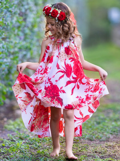 girls spring hi-low white with red floral dress 2T/3T to 10Y/12Y