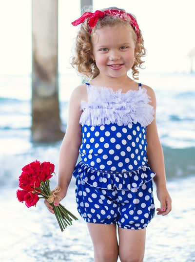 Girls Blue Polka Dot Ruffled Tank & Short Set - Blue / 2T - Girls Spring Casual Set
