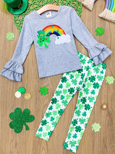 Girls Clover Rainbow Ruffled Sleeve Top and Clover Leggings Set - Green / 2T - Girls St. Patricks Set