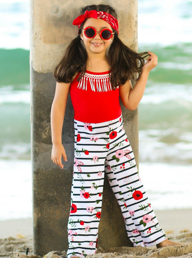 Girls Red Striped Floral Adjustable Spaghetti Strap Palazzo Jumpsuit with Crochet Fringe Collar - Girls Jumpsuit