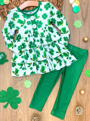 Girls St. Patricks Day Themed Buttoned Tiered Ruffled Tunic & Leggings Set - Girls St. Patricks Set