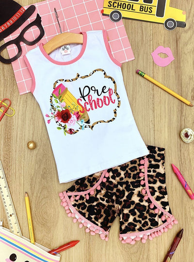 "Girls 1st Day of School ""Pre School"" Printed Top & Animal Print Pom Pom Shorts Set"