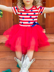 Girls 4th of July Themed Cold Shoulder Tutu Dress with Bow