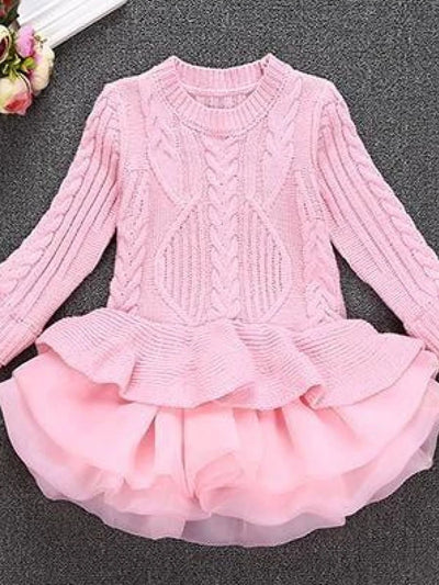 Girls Pink Chunky Knit Peplum Ruffle Sweater