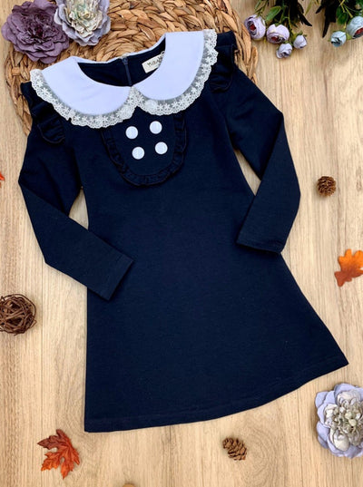 Girls Preppy Lace Hem Flat Collar Long Sleeve Dress With Button & Ruffle Detail